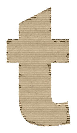 reusing: letter t made from torn cardboard