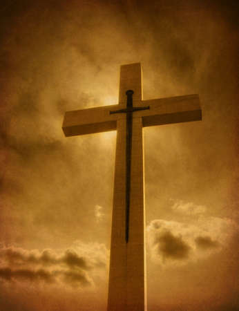 grunge cross: cross with sword Stock Photo