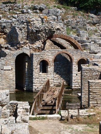 Ruins of a theatre and Asclepius temple in Butrint, Albania