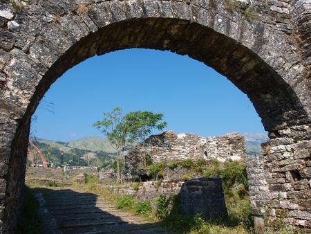A castle in Gjirokastra, Albania Stock Photo