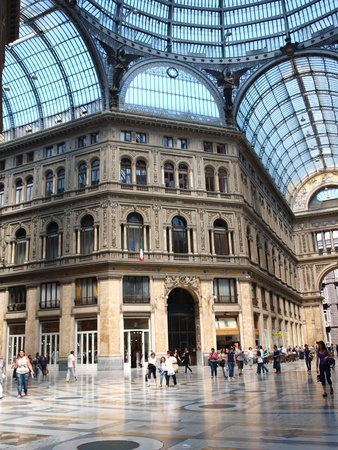 Naples, Italy: people shopping at Umberto I Galleria Editorial