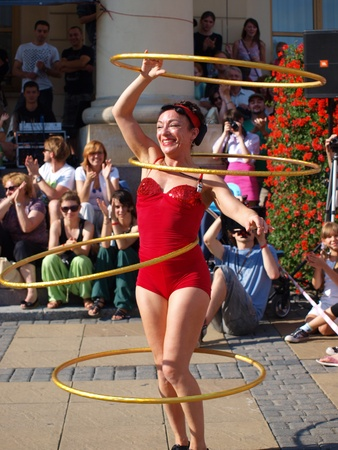 The performance of Abi Collins during the second edition of the summer Festival of Circus Art (Carnaval Sztuk-Mistrzow) 28th-31st July 2011, Lublin, Poland, July 29th 2011.