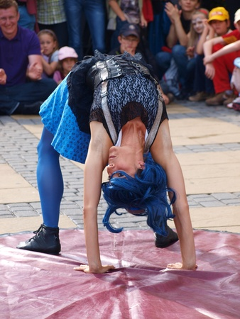 The performance of a duo Cokokoco from Spain during the summer Festival of Circus Art (Carnaval Sztuk-Mistrzow) 28th-31st July 2011, Lublin, Poland, July 31st 2011.  http:sztukmistrze.euenartistcokokoco