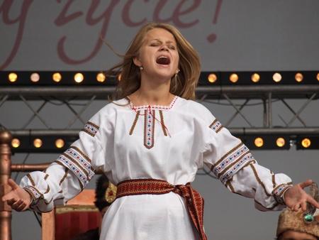 Ukrainian woman during the European Festival of Taste Lublin 2011 (9th-11th September 2011), Po Farze Square, Lublin, Poland, September 10th 2011