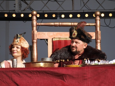 lubelszczyzna: King John III Sobieski and Queen Marysienka at the table performing a historical scene during the European Festival of Taste Lublin 2011 (9th-11th September 2011), Po Farze Square, Lublin, Poland, September 10th 2011