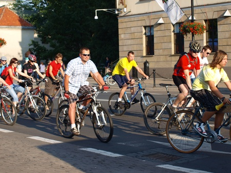 lubelszczyzna: Participants of the Critical Mass gathering for the event, Lublin, Poland, July 29th 2011