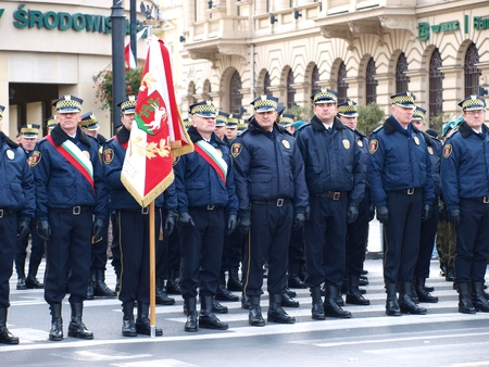 Celebrations of the Independence Day, Lublin, Poland, 11th November, 2011. Municipal police.