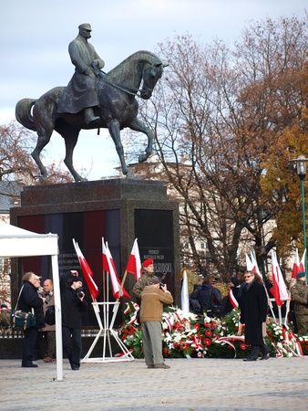 lubelszczyzna: Military and municipal authorities laying wreaths at the monument of Jozef Pilsudski. The celebrations of the Independence Day, 11th November, 2011, Lublin, Poland
