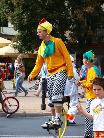 Jugglers during the march-past of the royal suite and jugglers during the annual Jagiellonian Fair (12th-14st August 2011), Lublin, Poland, August 13th 2011.