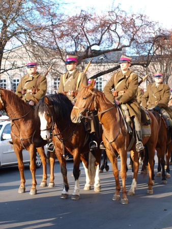 lubelszczyzna: Celebrations of the Independence Day, Lublin, Poland, 11th November, 2011. Municipal police.