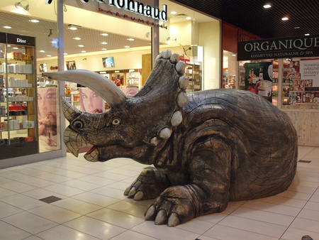 a frill: The exhibition Dinosaurs return in one of the shopping malls, Lublin, Poland