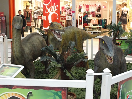 The exhibition Dinosaurs return in one of the shopping malls, Lublin, Poland