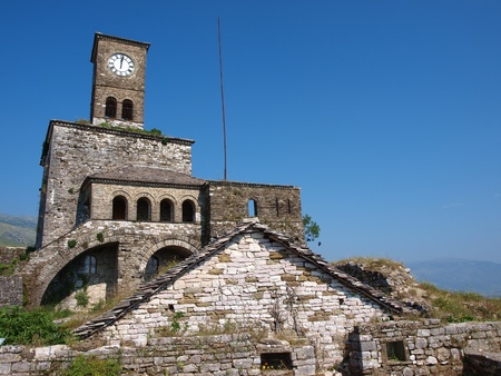 The clock tower in the castle in Gjirokastra, Albania