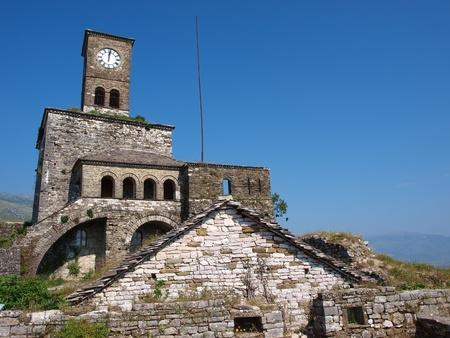 The clock tower in the castle in Gjirokastra, Albania