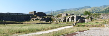 The panoramic view of the ruins of the castle in Gjirokastra, Albania, being home to the military museum
