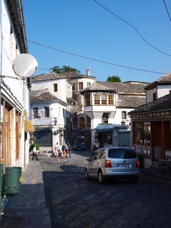 albanian: The street of the Albanian city of Gjirokastra