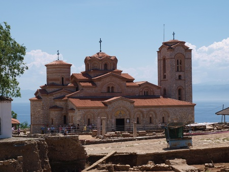 panteleimon: Group of tourists visiting the Monastery of St. Panteleimon otherwise called the Monastery of St. Clement, Ohrid, Macedonia