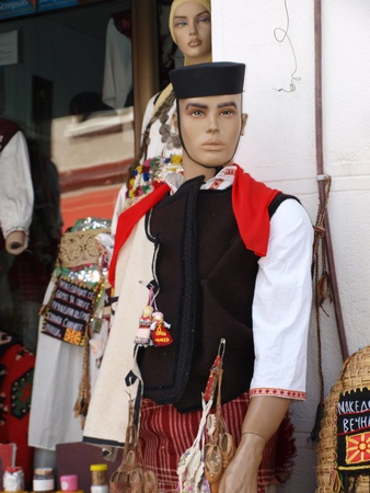 manequin: A manequin wearing original Macedonian folklore outfit, Ohrid, Macedonia Editorial