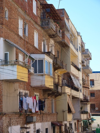 tenement: A street in the Albanian city, Durres, Albania