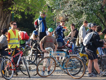Participants of the Critical Mass gathering for the event, Lublin, Poland, April 30th 2010