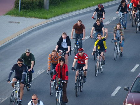 Participants of the Critical Mass gathering for the event, Lublin, Poland, May 28th 2010
