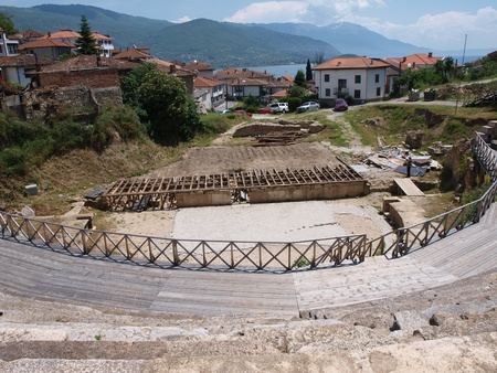 Ancient amphitheater in the Macedonian city of Ohrid Stock Photo