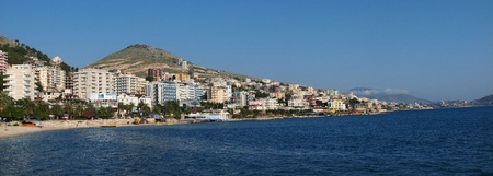 The panoramic view of the city of Saranda, Albania Editorial