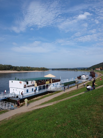 lubelszczyzna: A ship taking tourists on a cruise down the Vistula river, Kazimierz Dolny, Poland Editorial