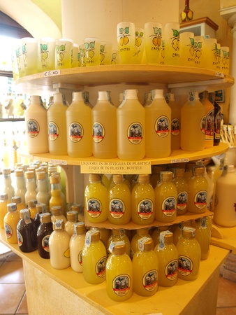 Limoncello bottles, Capri, Italy Stock Photo - 11366521