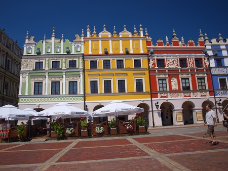 lublin: So called Armenian tenement houses in the Great Market square in the old town of Zamosc.