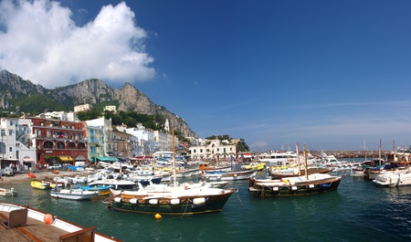 The view of the port in Capri, Isle of Capri, Italy