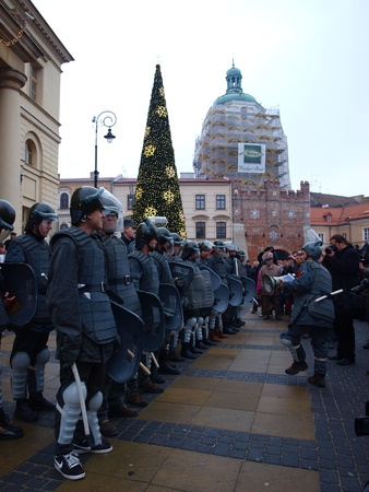 militia: Celebrations of the 30th Anniversary of introducing the Martial Law in Poland on December 13th 1981: ZOMO (Motorized Reserves of the Citizens Militia), Lublin, Poland, Dec, 13th 2011. Editorial