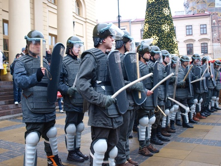 martial law: Celebrations of the 30th Anniversary of introducing the Martial Law in Poland on December 13th 1981: ZOMO (Motorized Reserves of the Citizens Militia), Lublin, Poland, Dec, 13th 2011. Editorial