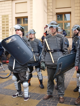 Celebrations of the 30th Anniversary of introducing the Martial Law in Poland on December 13th 1981: ZOMO (Motorized Reserves of the Citizens Militia), Lublin, Poland, Dec, 13th 2011. Editorial