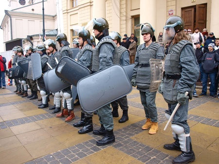 Celebrations of the 30th Anniversary of introducing the Martial Law in Poland on December 13th 1981: ZOMO (Motorized Reserves of the Citizens Militia), Lublin, Poland, Dec, 13th 2011. Stock Photo - 11459203