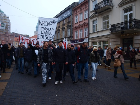 staging: Celebrations of the 30th Anniversary of introducing the Martial Law In Poland on December 13th 1981: staging of the demonstrations against the introduction of the Martial Law, Lublin, Poland, Dec, 13th 2011. Editorial
