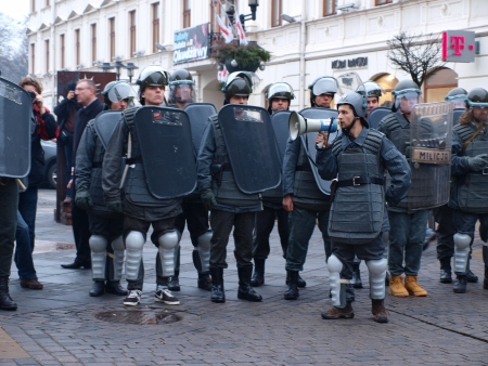 opponents: Celebrations of the 30th Anniversary of introducing the Martial Law In Poland on December 13th 1981: ZOMO, Lublin, Poland, Dec, 13th 2011.