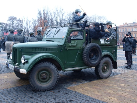 martial law: Celebrations of the 30th Anniversary of introducing the Martial Law In Poland on December 13th 1981: staging of the demonstrations against the introduction of the Martial Law, arrested opponents in ZOMO car, Lublin, Poland, Dec, 13th 2011. Editorial