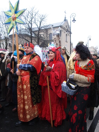lubelszczyzna: Lublin, Poland, January 6th 2012: the suite of the Three Kings.