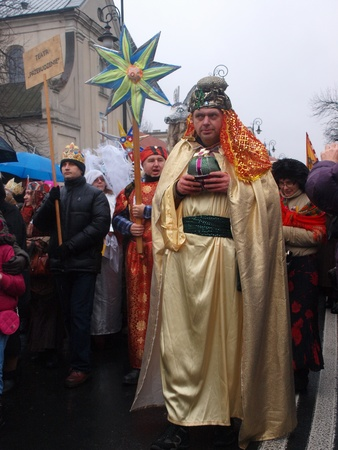 wise woman: Lublin, Poland, January 6th 2012: the suite of the Three Kings.