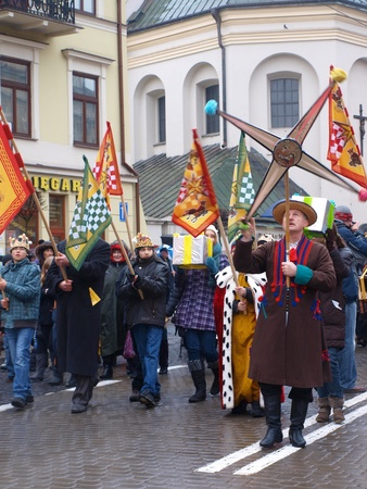 Lublin, Poland, January 6th 2012: the suite of the Three Kings.