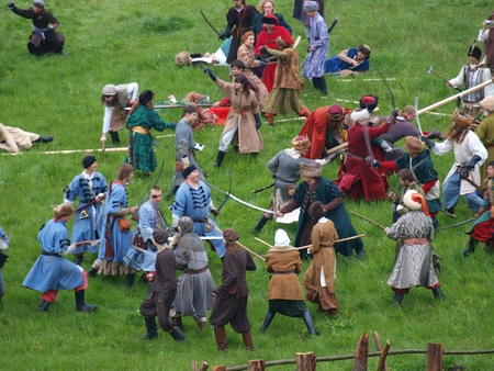 Reconstruction of a battle from the 17th century during the Picnic with history, Zawieprzyce, Poland May 7th 2011