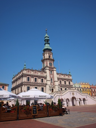 Restaurants and cafes around the Great Market Square in the old town of Zamosc, Poland, July 10th 2011. Stock Photo - 11952319