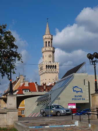 The tower of the town hall in Opole, Poland. Editorial