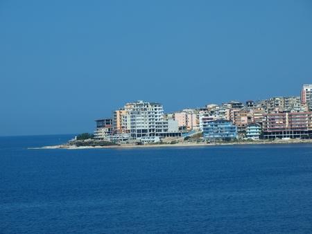 towerblock: The panoramic view of the city of Saranda, Albania Editorial