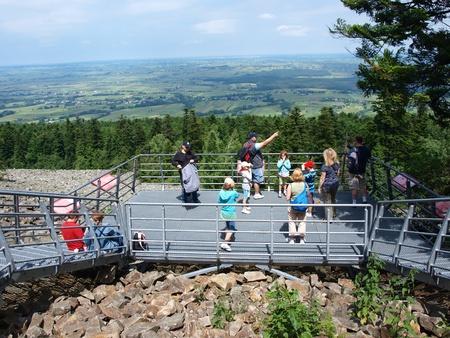 Tourists admiring the screes in the Świętokrzyskie Mountains, Święty Krzyż, Poland