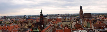 Panorama of Wroclaw seen from the Bridge of the Witches of the church of Saint Mary Magdalene, Wroclaw, Poland