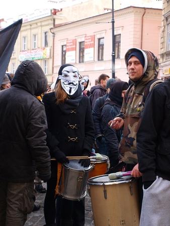 anti noise: Giovani polacchi che protestano contro il governo polacco firma l'ACTA (Anti-Counterfeiting Trade Agreement), Lublin, Polonia, 26 gennaio 2012.