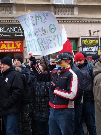 Young Poles protesting against Polish government signing the ACTA (Anti-Counterfeiting Trade Agreement), Lublin, Poland, 26th January 2012.
