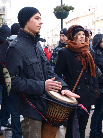 Young Poles protesting against Polish government signing the ACTA (Anti-Counterfeiting Trade Agreement), Lublin, Poland, 26th January 2012. Stock Photo - 12074024